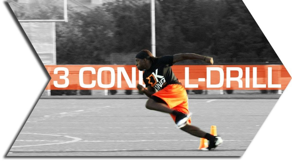 FOOTBALL AGILITY TRAINING.  L – DRILL.  3 CONE.
