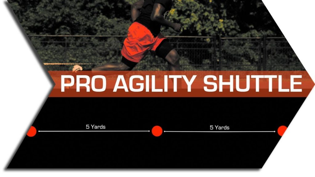 FOOTBALL AGILITY TRAINING – PRO AGILITY SHUTTLE. 5-10-5