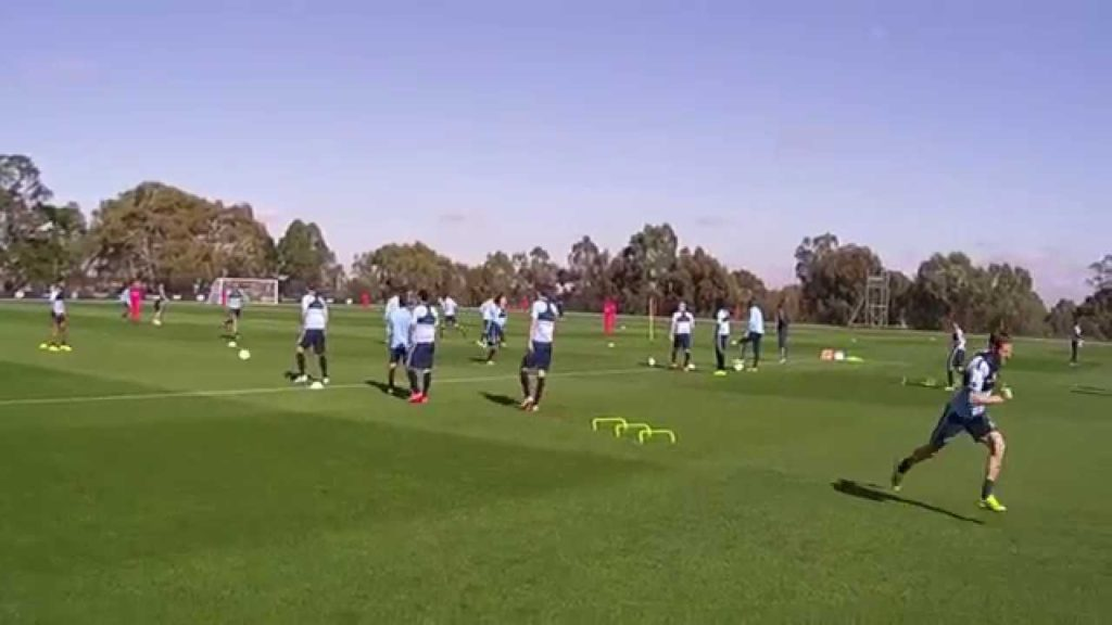 Football warm-up passing practice combined agility circuit