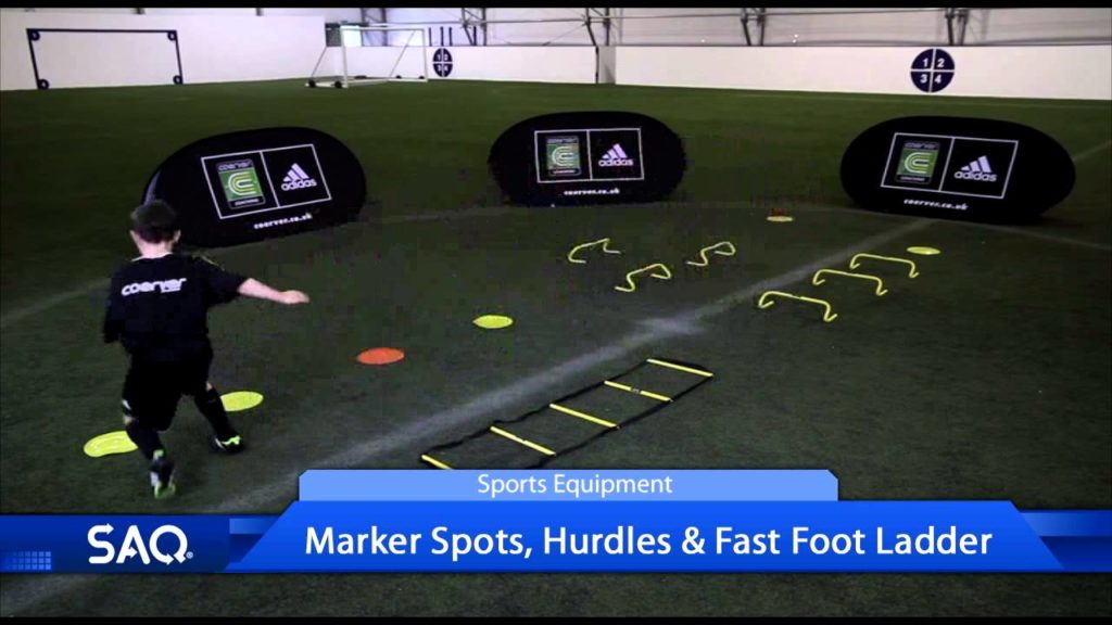 Football Drill with Marker Spots, Hurdles and Fast Foot Ladder (Speed, Agility, Quickness (SAQ®)