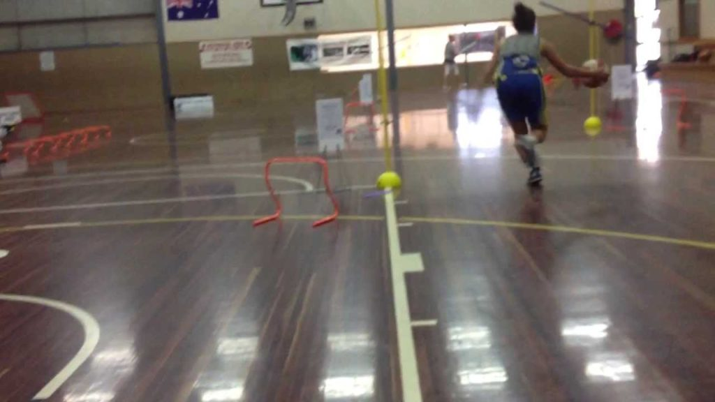 Sports HQ Basketball – Agility Pole Speed Dribble Course PART 2  (With Weighted vest)