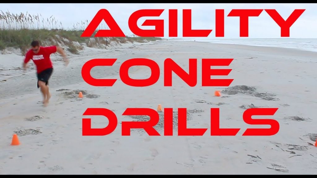 CONE AGILITY DRILLS in the SAND at the BEACH!!!