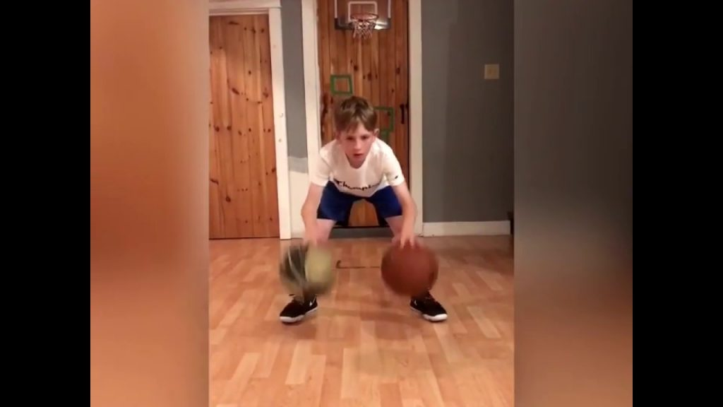 Basketball drills: Griffin practicing dribbling and agility drills.