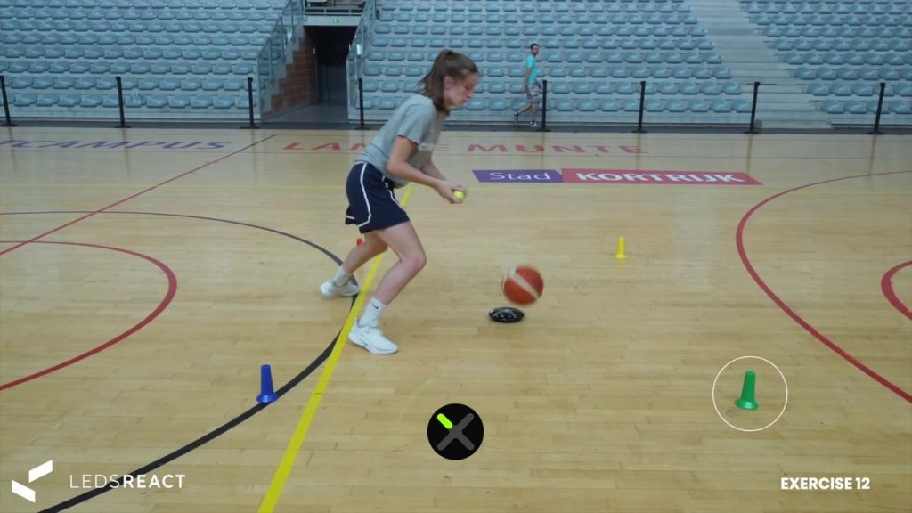 Basketball agility and speed drill – Switch balls after each light